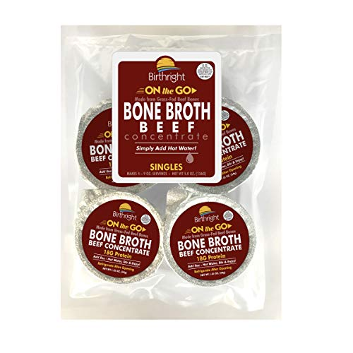 Organic Beef Bone Broth Collagen Concentrate, Single Serve Cups, Organic Grass Fed Beef Bone Broth with 18 Grams of Protein and 20 Grams of Collagen Per Serving (Beef, 4 Servings)