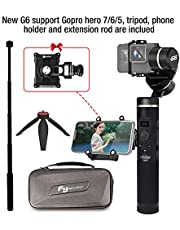 Feiyu G6 gimbal for Gopro Hero 6/5/4/3,SJcam, Yi 4K or similar size for Action camera,including tripod stand and extension Rod