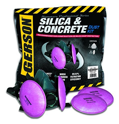 Gerson Silica & Concrete Dust Respirator Kit with Pancake Filters - Signature Pro Series (Medium)