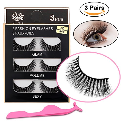3D False Eyelashes with False Eyelash Tweezers - XREXS 8-12mm Three pairs Package Reusable Long Thick Handmade False Lashes Makeup, Looks Natural, for Making Lashes Thick and Black (8-12MM)