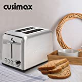 Cusimax 2-Slice Toaster 2 Wide Slot - Stainless Steel Compact Bagel Toaster - 6 Shade Settings Bread Toaster - CMST-80S