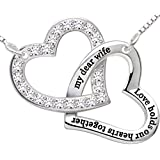"ALOV Jewelry Sterling Silver ""my dear wife love holds our hearts together"" Love Heart Necklace"
