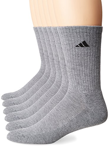 adidas Men's Athletic Cushioned Crew Socks (6-Pack), Heather Grey/Black, Large (Shoe Size 6-12)