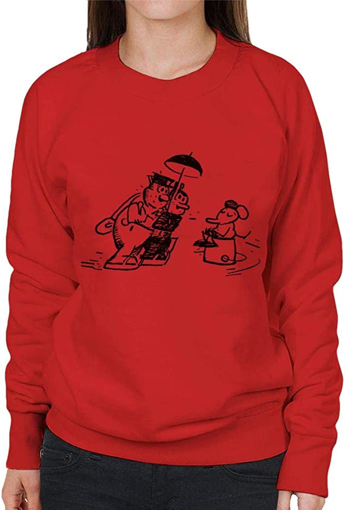 Krazy Kat Ice Skating Officer Bull Pupp Womens Sweatshirt
