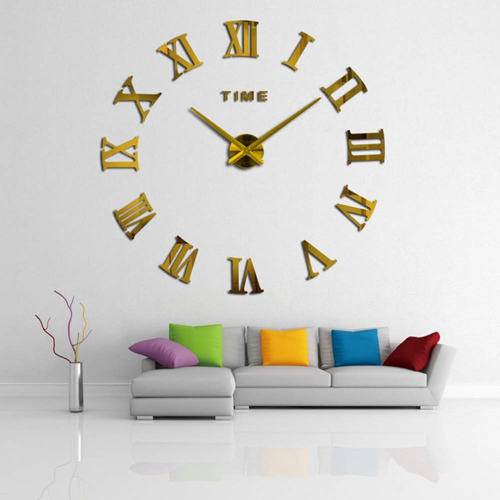 FASHION in THE CITY 3D DIY Mirror Surface Wall Clocks Creative Design Room Decorative Wall Watches (Gold)