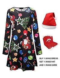 Youthwell Christmas Dress, Women Christmas Print Swing Dress Plus Size (S-5XL)