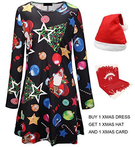 Christmas Dress, Women Santa Claus Print Long Sleeve A Line Swing Dress Plus Size X-Large/XX-Large (US 18/20) ()