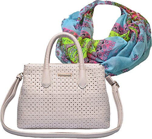 Extravagante City Cutwork Handtasche mit modischer Perforation im Set mit Halstuch, Loop in frischem Sommer Flower Design