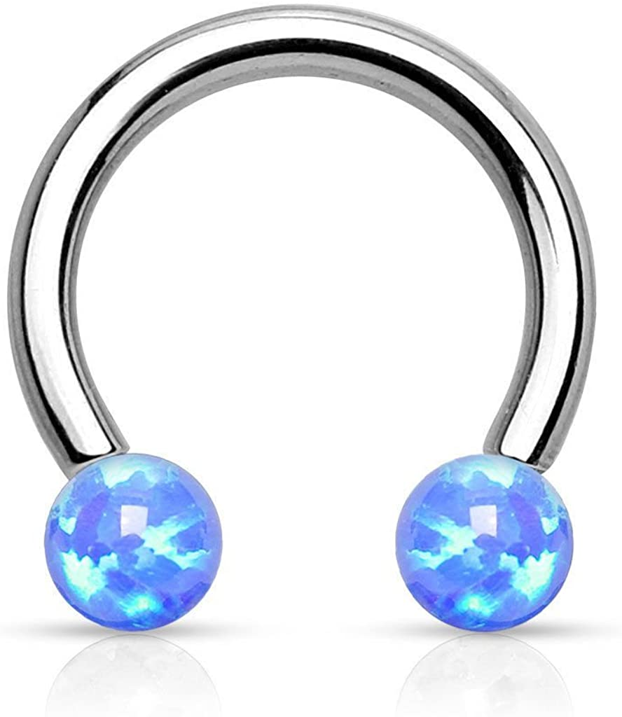 Amazon Com Lobal Domination 1pc Internally Threaded Opal Balls Horseshoe Lip Nipple Septum Ring 16g Blue Jewelry