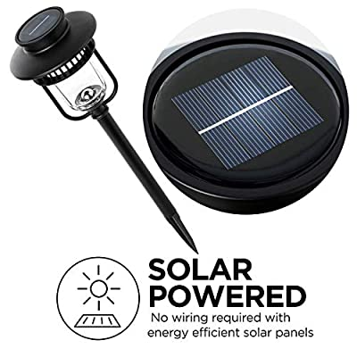 Home Zone Security Solar Pathway Lights - Outdoor 4500K Solar Landscape and Garden Lights with No Wiring Required, Stainless Steel (4-Pack)