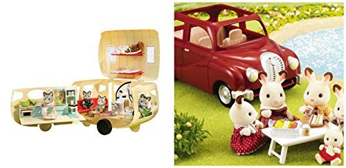Calico Critters Camping Caravan & Convertible Coupe Car Sets