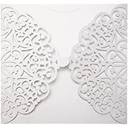 Asiproper 10pcs Elegant Laser Cut Christmas Wedding Festival Invitations Cards Kit (F)