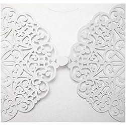 Asiproper 10pcs Elegant Laser Cut Christmas Wedding Festival Invitations Cards Kit (F)