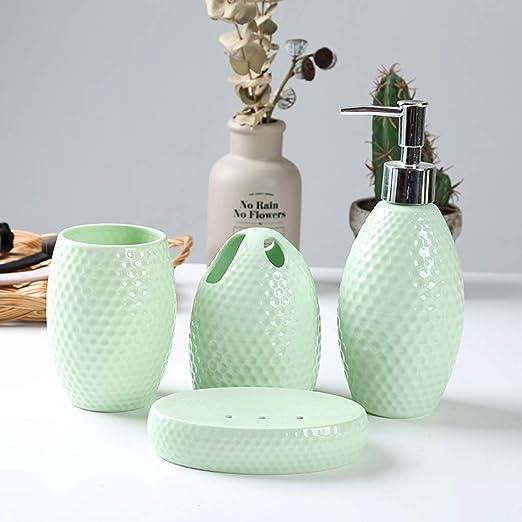4 Piece Elegant Ceramic Bathroom Accessory Set Geometric Design