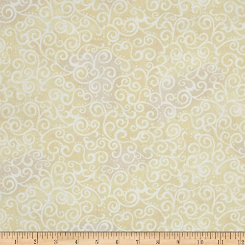Fabric & Fabric 0472469 QT 108in Wide Quilt Back Ombre Scroll Ecru Fabric by The Yard ()