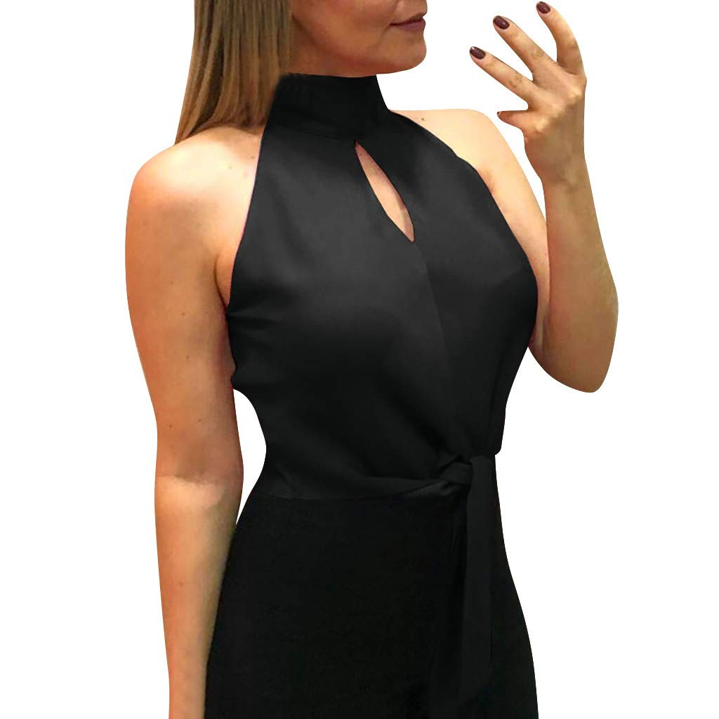 Women Tops Pure Color Hollow Out Tank Sleeveless Halter Blouse Vest Black