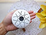 Mini Handmade 3'' Steel Tongue Drum/Mini Handpan, 7 notes, with 2 sticks + leather bag, Sound Therapy, meditation, Healing (White)