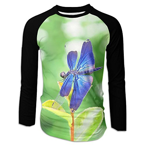 Blue Dragonfly Men Casual Long Sleeve Raglan Baseball T-Shirt Graphic Jersey Tops
