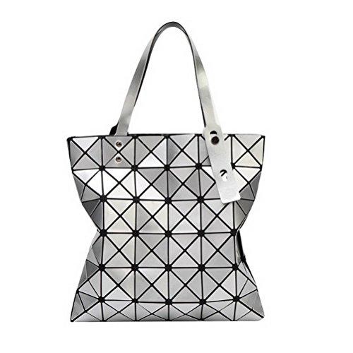 Fashion Women Handbags, Retro Casual Large Capacity PU Leather Tote Bag Messenger Bags Silver