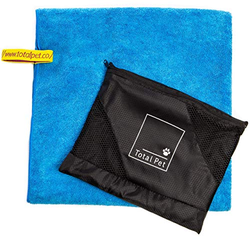 Dog Towel: Large Microfiber Pet Bath Towel - Includes Zipper Carry Bag