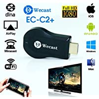 Wecast C2+ HDMI 1080P TV Stick Miracast DLNA WiFi Display Receiver Dongle Full HD 1080P WiFi Wireless Display Receiver Dongle HDMI TV Mini DLNA Airplay Airmirroring for Android,IOS, HDTV Smart Phones