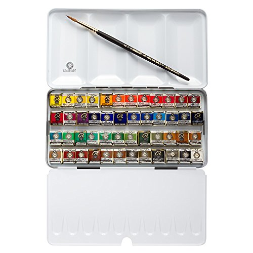 Rembrandt Watercolor Paint Metal Tin Deluxe Set, 48 Pans + 1 Brush, General Color Selection