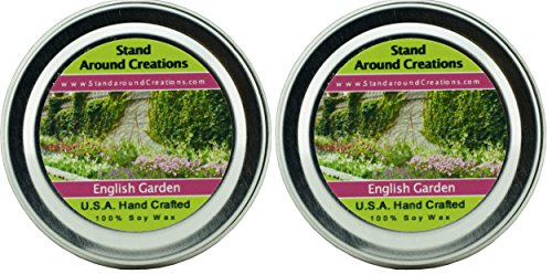 - Premium 100% Soy Candles - Set of 2- 2oz Tins - English Garden: floral notes, this fragrance brings the beauty and splendor of an 18th century English Garden into any home. Lily, lilac, rose & hyacinth. Contains essential oils.