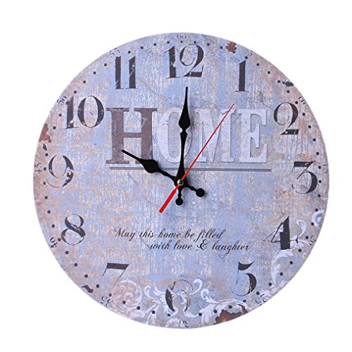 Vintage Wooden Wall Clock Farmhouse Decor, Liu Nian Silent Non Ticking Antique Wall Clocks Large Decorative - Big Wood Atomic Analog Battery Operated (Multicolor A)