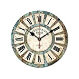 12'' Retro Blue Wooden Wall Clock Antique Vintage Rustic Colorful Country Style