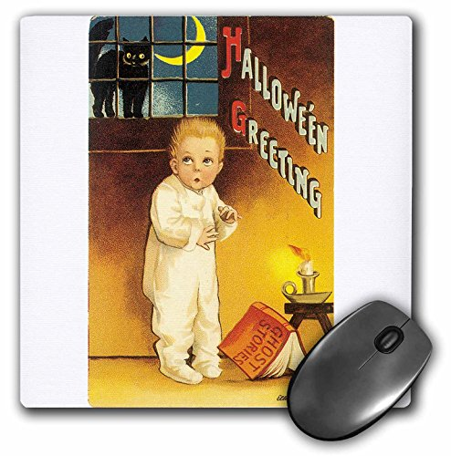 3dRose BLN Vintage Halloween - Vintage Halloween Greetings with a Cutle Child Reading a Scary Ghost Story - MousePad (mp_126136_1)