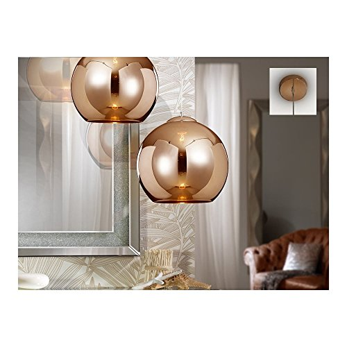 Schuller Spain 589131I4L Modern Copper Dome Ceiling Light Pendant 1 Light Dining Room, Living Room, Kitchen LED, Glass Shade | ideas4lighting by Schuller