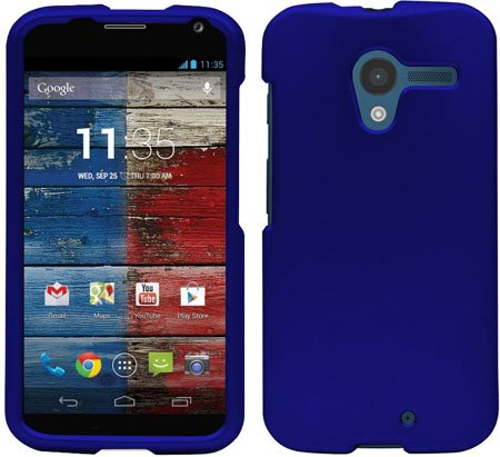 Royal Blue Rubberized Hard Skin CASE Protector Cover for Motorola Moto X 1st Gen (1st Moto Phone Generation X Case)