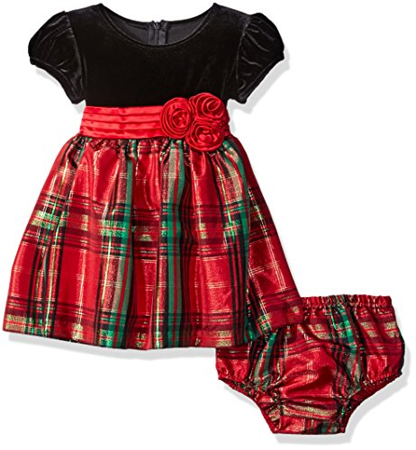 Bonnie Baby Baby Plaid Taffeta Holiday Dress with Stretch Velvet Bodice, Red, 3-6 (Kids Christmas Dress)