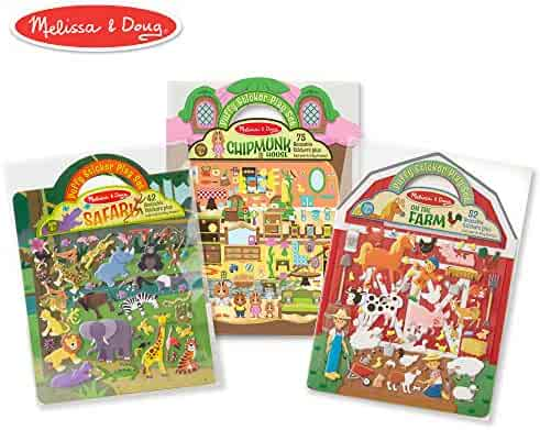Melissa & Doug Puffy Sticker Play Set 3-Pack, Safari, Chipmunk, Farm Reusable Sticker Activity Pads (Double-Sided Background, Includes Puffy Stickers)