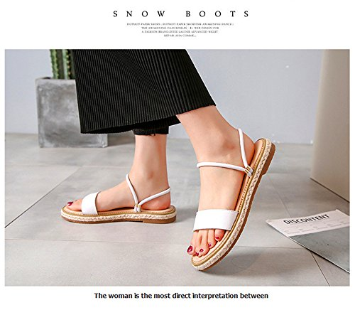 ShangYi Leather summer sandals and slippers female wear fashion Korean flat bottom beach shoes two wear slippers White AKkgT