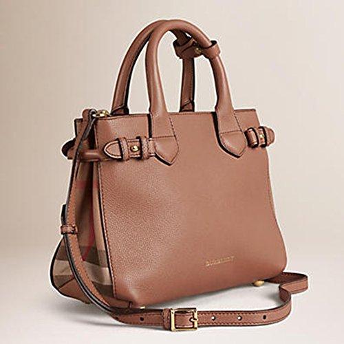 Burberry Medium House Check Detail Leather Banner Bag