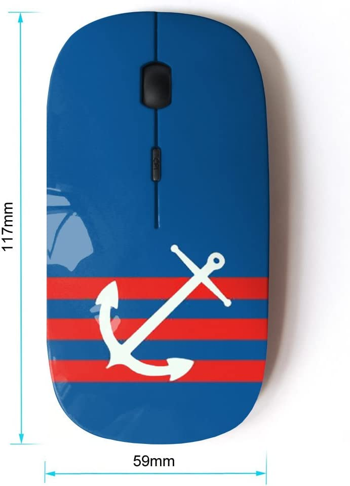STPlus Pattern with Anchor 2.4 GHz Wireless Mouse with Ergonomic Design and Nano Receiver