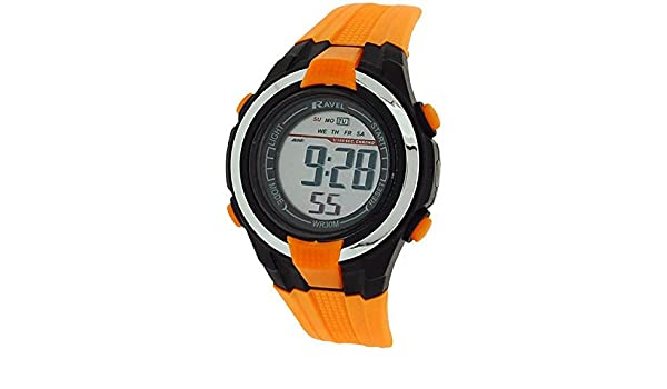 Amazon.com: Ravel Kids Alarm Stop Watch Digital LCD Orange PU Strap Watch RDB-18: Watches