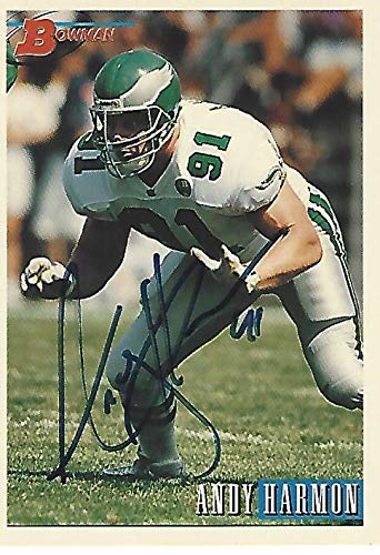 (ANDY HARMON -DT/DE- #91 (EAGLES) NFL Career 1991 thru 1997 - Signed 1993 TOPPS FOOTBALL CARD - NFL Autographed Football Cards)
