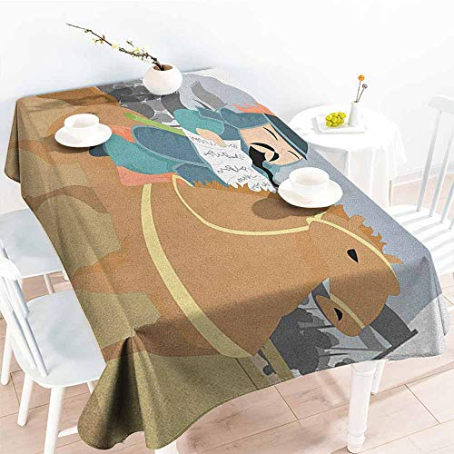 """familytaste Chinese,Party Table Cover Far Eastern History Theme Military General Leading His Army Antiquity War Scenery 60""""x 90"""" Table Cloth Cover Wedding Event Party"""