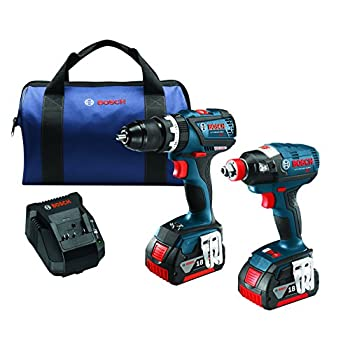 Image of Bosch CLPK251-181 18V 2 Tool Combo Kit with 1/4' and 1/2' Socket Ready Impact Driver and 1/2' Hammer Drill/Driver, Blue Home Improvements