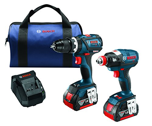 Bosch CLPK251-181 18V 2 Tool Combo Kit with 1/4'' and 1/2'' Socket Ready Impact Driver and 1/2'' Hammer Drill/Driver, Blue by Bosch