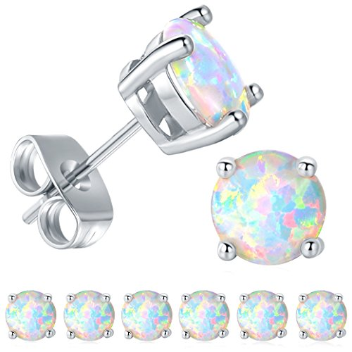 GEMSME 6 Pairs 18K White Gold Plated 6mm Round White Opal Stud Earrings(Pack of 6)