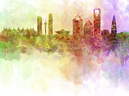 MP PAINTING ABSTRACT CITYSCAPE RIYADH SAUDI ARABIA PAINT SPLASH SKYLINE 18x24 INCH ART POSTER PRINT PICTURE LV6645