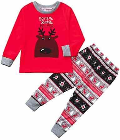 7c9511392 FEDULK Family Matching Sleepwear Christmas Deer Print Xmas Holiday Pajamas  Pjs Sets