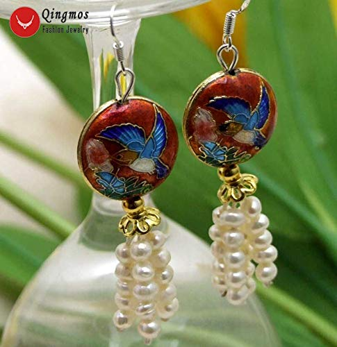 Qingmos Natural 4-5Mm White Pearl Earrings for Women with Cloisonne Coin Beads &Amp; Blue Cloisonne Hummer Dangle 2.539;39; Earring E522 (Red) ()