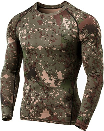 TSLA Men's Thermal Wintergear Compression Baselayer Long Sleeve Top, Thermal Athletic(yud34) - Pixel Camo Black, X-Large (Mens Camo Clothing)