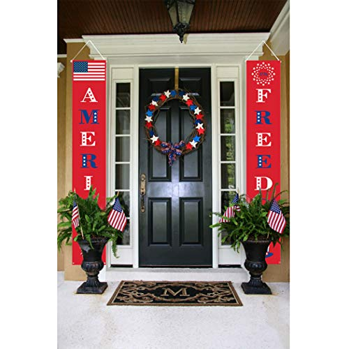4th of July Decorations,Coxeer 1 Set Front Door Banner Patriotic Porch Sign Decorative Hanging Banner for Fourth July Decor Patriotic Party Supply Indoor/Outdoor Independence Day Decor (red)]()