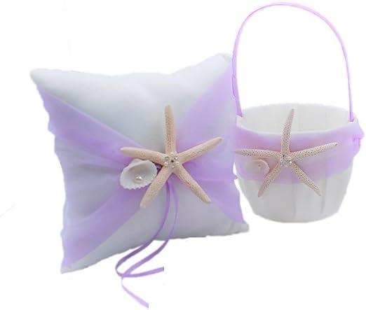 Wedding Flower Basket Ring Pillow Sets Beach Theme Starfish Seashell Wedding Girls Flower Basket Ring Pillow Romantic Flower Girl Baskets Ring Pillow for Wedding Ceremony Party Baby Shower Favors