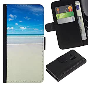 Billetera de Cuero Caso del tirón Titular de la tarjeta Carcasa Funda del zurriago para Samsung Galaxy S3 MINI NOT REGULAR! I8190 I8190N / Business Style Sun Summer Sea Beach Sand Surf Blue
